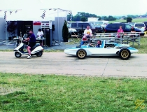 Mike Yager with CERV 1 at Bloomington Gold, Roar to Zora celebration.